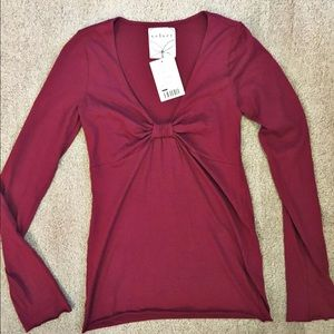 Anthropologie v neck knot long sleeve top in wine